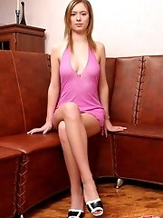 Even In Her Pink Dress This Cute Teen Chick Looks Sexy And Irresistible.
