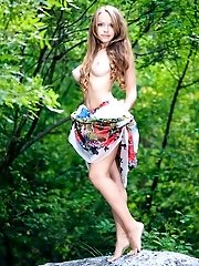 Adorable Teen Honey With Excellent Long Hair Undressing And Spreading Her Legs Outdoors.