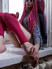Lovely Small Tits Teen Opens Up Her Long Legs To Show Off How Well She Can Tease That Tiny Pink Puss