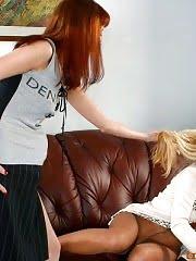 Pantyhose lesbian slapping her girlfriend