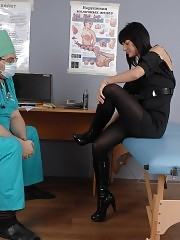 Shy brunette at a smut medical exam