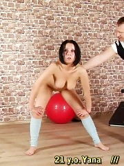 Flexible but not enough for her cruel male trainer
