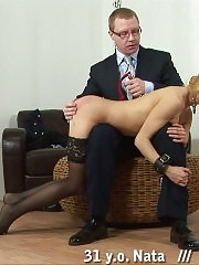 Teacher bent over the male knees and punished