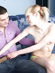 Sexy-looking dude seduces innocent teen slut for some awesome fucking action, he forces her to sucks his long cock and drills pour slut really hard