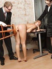 Undressed secretary dildo-masturbates for the job