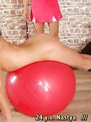 Lesdom gymnastics training of a leggy sport girl