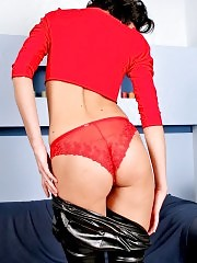 Charming Caroline blazons out her red panties