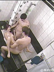 Bathroom spy cam films a slut and two fucksters