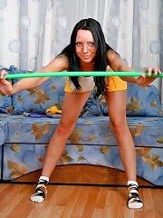 Sportsbabe exercising with her stunning rack bare