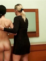 Bedroom sexercises of two nude gymnasts