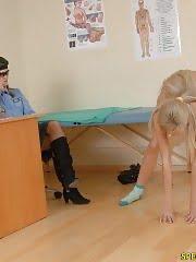 Slim blondie at a nude military med exam