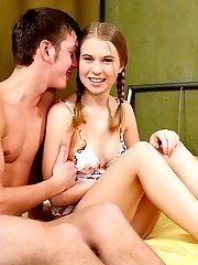 Yummy Teen Cutie With Nice Tits Getting Her Sweet Pussy Eaten And Stuffed With A Big Cock.