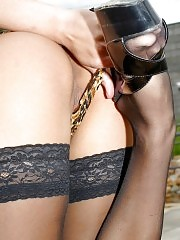 Alluring Anna shows off in black stockings