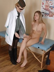 Hard-driving army doctor inspects a babe