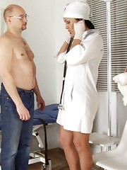 CFNM nurses give a BJ and trample a cock