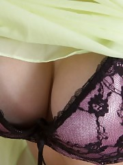 This lovely blonde puts her ragged little pussy on the table to give you a good taste of all tits pink juiciness.