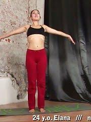 Flexible brunette in a few awesome yoga asanas