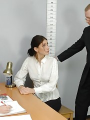 Dressed and undressed woman in the porn HR office