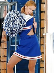 Young cheerleader girl in pantyhose
