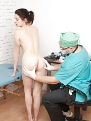Chubby doctor humiliates and frightens a sport girl