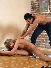 Submissive gymnast does nude sports exercises