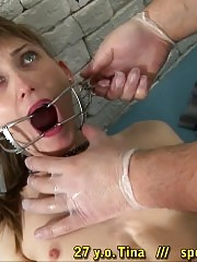 Extreme throat and mouth exam of a tiny-titted girl