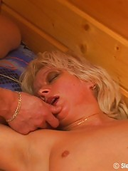 Blonde sleeping lady in oral sex action