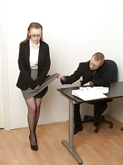 Knelt secretary cries while getting an obedience lesson