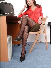 Horny office girl in hot patterned pantyhose