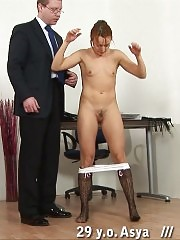 Male spanker delivers a stinging spanking pain