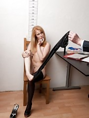 Speculum and dildo testing of an undressed candidate