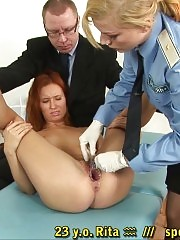 Cavity search with a dildo and a speculum
