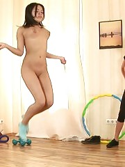 Future lesbian sex toy does nude exercises
