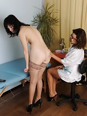 Sexy fem doctor examines a nude sports girl