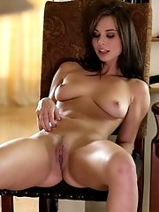 Buxom Brunette Aidra Fox Plays With Her Full Tits And Hard Nipples Then Seduces Her Wet Pussy With A