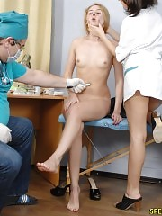 Doctor and nurse examine and humiliate a nude patient