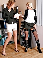 Lesbian secretaries Sasha and Camilla playing at office