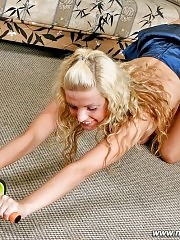 Petite sporty blondie shows her tight holes