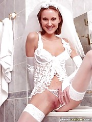 Excited bride takes off her white panties