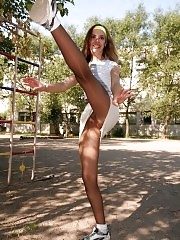 Young Kristie at outdoors pantyhose aerobics workout