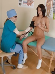 Girl undergoes the speculum insertion and physical exam