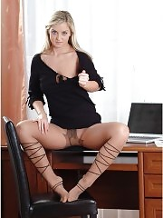 Beautiful Monique in patterned pantyhose