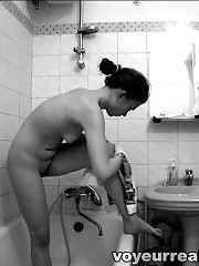Showering and snatching missy on spy camera