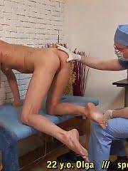 Blonde patient afraid of male medical pranks