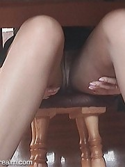 Undertable upskirt and masturbation of housewife