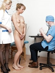 With a whitehead dental gag at the group gyno examination