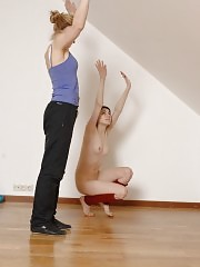 Jumping and crawling fem gymnastics slave
