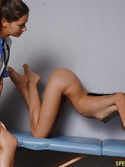 Sports and gyno exam of a leggy skinny girl
