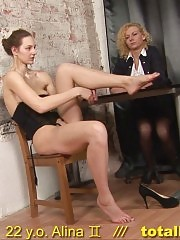 Naked job interview with two silicone cocks