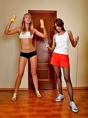Two hot girls in pantyhose workout